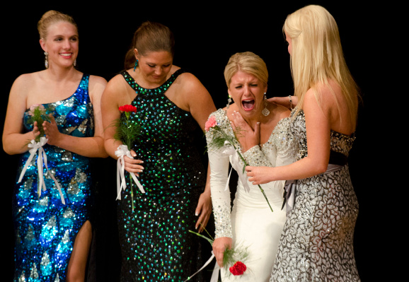 Mallory Rivard reacts to being named Miss Bay County 2015 on Sunday, July 20, at Garber High School in Essexville. Rivard will compete in the Miss Michigan pageant as part of the Miss America program next year. (Danielle McGrew | for the Bay City Times)