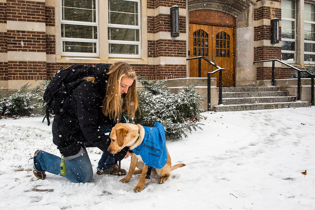 Hannah Piper trains Leader Dog for the Blind