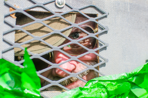 Bill 'W.J.' Meagher peers out from the inside of the family float, which he pulled with a concealed four-wheeler for the 60th Annual St. Patrick's Day Parade in Bay City on Sunday, March 16.(Danielle McGrew | The Bay City Times)