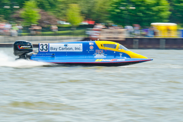 Rob Dinicolantonio of Blowfish Racing speeds through the Saginaw River in his Formula Two boat during the River Roar in downtown Bay City on Saturday, June 28. The event continues Sunday with Formula Two finals at 1 p.m., Formula Light finals at 1:45 p.m. and and Formula One finals at 3:40 p.m. Danielle McGrew | for the (Midland) Daily News