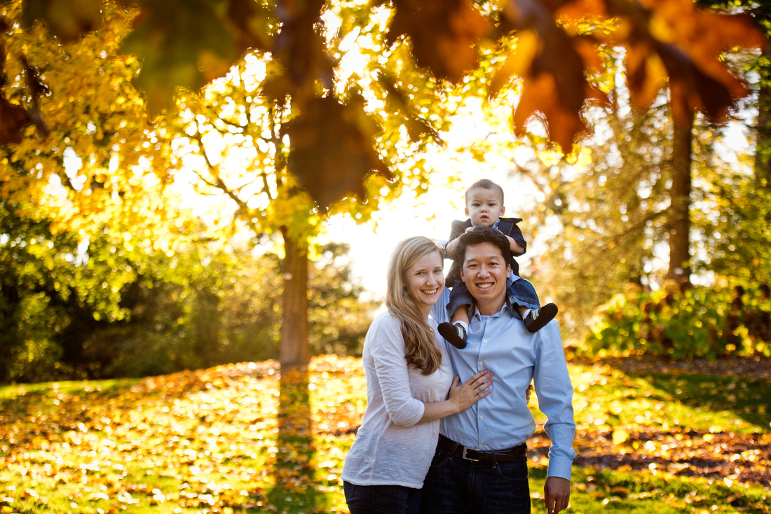 Family portrait at Dow Gardens in Midland
