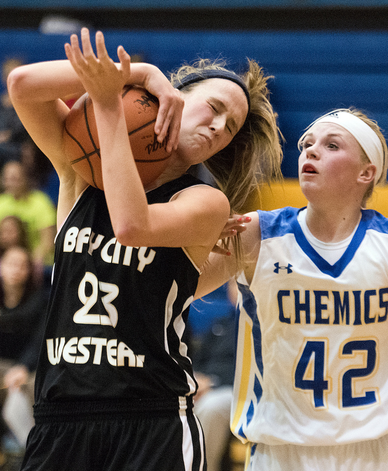 Midland High School versus Bay City Western girls basketball